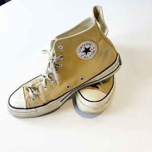Converse all star high tops mustard yellow size 10